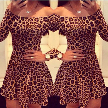 Leopard Long Sleeve Hot Sale Sexy Club One Piece Dress [10463348180]