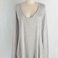 Long Long Sleeve Casual You Need Top in Grey