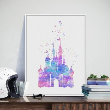Original Watercolor Modern Romantic Fantasy Castle Cartoon Art Print Poster Abstract Wall Picture Canvas Painting Kids Room Deco