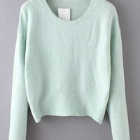 Green Cropped Mohair Sweater