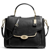 COACH MADISON SMALL SADIE FLAP SATCHEL IN LEATHER