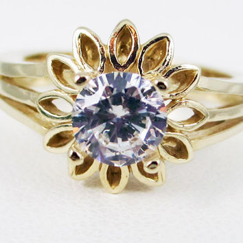 White CZ 14k Yellow Gold Sunflower Ring, Cubic Zirconia Ring, Gold Engagement Ring, Yellow Gold Sunflower Ring, 14k April Birthstone Ring