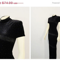 SALE Vintage Dress 90s Jessica Howard Shimmering Stretch Velvet Dress Size 8 Modern M L Xl