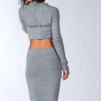 Sexy Matching Sweater Set Knee High Dress Crop Top, Shadow Stripe Shrug KD dance