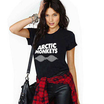 Punk T Shirt Women 2017 Casual Harajuku Tops Womens T-shirt  Short Sleeve O-neck Arctic Monkeys Letter Print Tee Shirt Femme