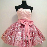 Rufflwd Sweetheart Bowknot Ball Gown Short Bridesmaid Celebrity dress ,Lace Sequins Evening Party Prom Dress Homecoming Dress