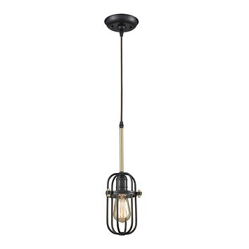 Binghamton 1 Light Pendant in Oil Rubbed Bronze and Satin Brass - Includes Recessed Lighting Kit