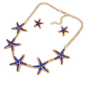 Starfish Rhinestone Necklace And Earring