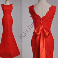 Long Red Scoop Neckline Mermaid Lace Prom Dresses,Red Satin Blet Evening Dresses,Bridal Grown Wedding Dresses