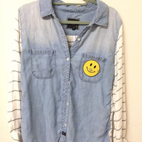 Button down denim shirt with sequin patches and appliqués