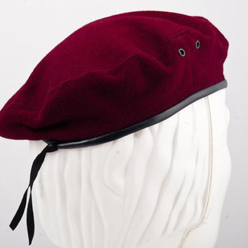 Military Men's Sewn Scouting Beret Wool Cloth - claret red