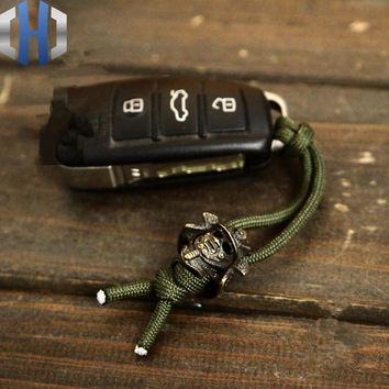 EDC Pure Brass Retro Warrior Armor Soldiers Knife DIY Accessories Rope Buckle Paracord Beads