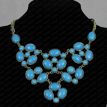 Mint Necklace sets, blue Bubble Necklace ,Chunky Necklace,Cluster Necklace,statement necklaces ,wedding neckalace n0020