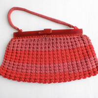 Vintage Red Woven Purse - 1940s Cherry Lucite Frame Large Striped Bag