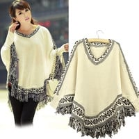 Fashion clothing Women Beige Tassels Hem Batwing Sleeve Knitting Sweater Poncho Cloak Tops [XH]