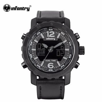 INFANTRY Mens Watches Digital Leather Quartz Watches Male Aviator Sports Watches Night Vision Clock Waterproof Top Brand Luxury