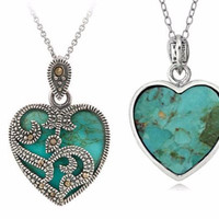 925 Sterling Silver & Marcasite Turquoise Heart Necklace
