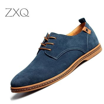 2017 fashion men casual shoes new spring men flats lace up male suede oxfords men leat  number 1