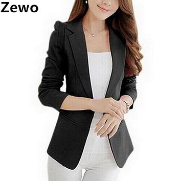 Zewo Women Blazers And Jackets 2017 Autumn Winter Cardigans Slim Fit Coats Long Sleeve Suit Jacket Blaser Femenino