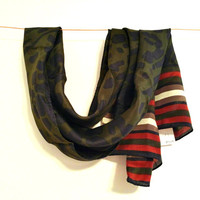 Echo Scarf Silk Scarf Green Red Black Burgundy New With Tags Scarf