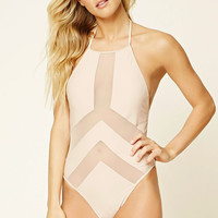 Mesh-Paneled Halter One Piece