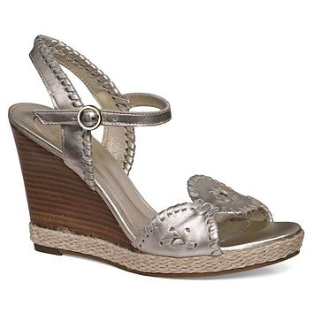 Clare Rope Wedge Sandal in Platinum by Jack Rogers