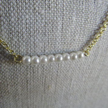 Petite Pearl Necklace with Gold Chain