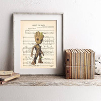 Guardians of the Galaxy Baby Groot Sheet Music Art Print
