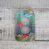 Light Switch Cover Nautical Lightswitch Cover Under The Sea Light Switch Cover Fish Light Switch Plate Vintage Resin Switch Cover Beach
