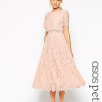 ASOS PETITE SALON Lace Crop Top Midi Prom Dress