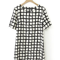 Black and White Plaid Short Sleeve Mini Shift Dress