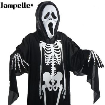 Halloween Costume Skull Skeleton Demon Ghost Cosplay Costumes With Scary Mask Adults Kids Carnival Masquerade Dress Robes