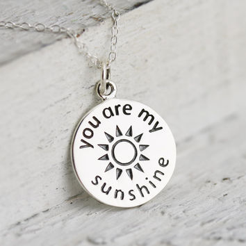 You Are My Sunshine Necklace - Sterling Silver You Are My Sunshine Charm Necklace - You Are My Sunshine Pendant -Sun Charm -Sunshine Jewelry