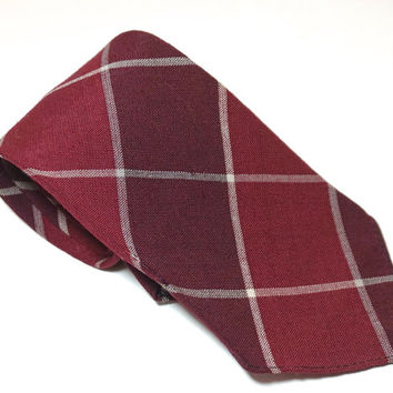 "Red Plaid Tie,Red Tartan Necktie,Red Tie,Tartan Tie,Preppy Tie,Vintage Cotton or Wool Tie,Teck & Marks,Short Tie,47"" x 3.3"",Hipster Tie"