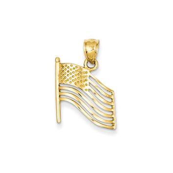 14k Yellow Gold Waving American Flag Pendant