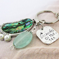 Beach Keychain, Footprint Keychain, Car Accessory, Unique Beach Keychain, Abalone Shell Keyring, Dreaming of the Sea