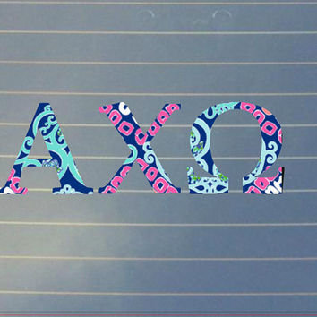 Lilly Pulitzer Alpha Chi Omega Car Decal | Alpha Chi Omega Car Sticker | Alpha Chi Omega Sorority | Alpha Chi Omega Laptop Decal | 167