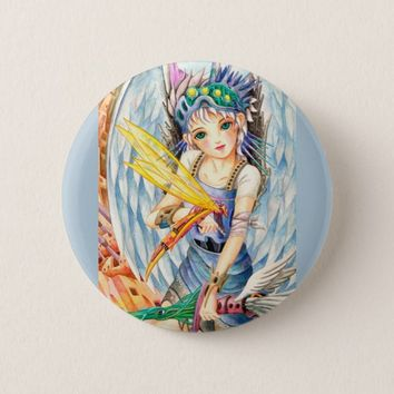 Girl Swordsman Pinback Button