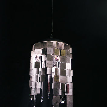Cleopatra ,Handmade Ceiling light in Leaf of Silver with Crystals.Ceiling lamp.