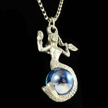 Pewter Mermaid Pendant Necklace, Blue Ball, Silver Tone Chain, Blue Iridescent Crystal Ball Bead, Vintage 1970's, 1980's, 26 inch Chain