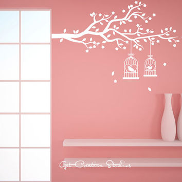 Bird Cage Branch Wall Decal Leaves and Flowers Pink White Baby Wedding Marriage Ceremony Valentine Heart Bird Tree Sticker Home Decor