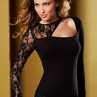Black (BK) Cut Out Lace Top