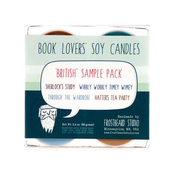 BRITISH - Tea Light Sample Pack - Book Lovers' Scented Soy Candles