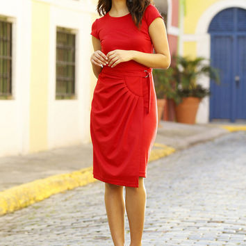 Daniela Sheath Dress Red