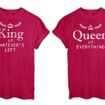 His Her Funny Cute Romance LOVE ROYALTY MAJESTY Humour Gift T-Shirt King Queen - Red