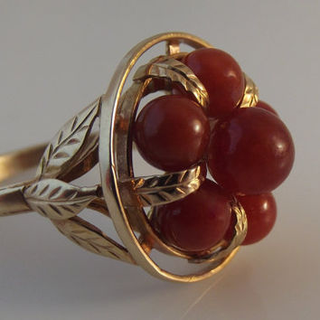 SALE Authentic Ming's Red Jade & 14K Gold ring with original Box