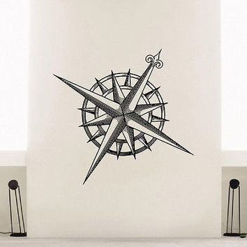 WALL DECAL VINYL STICKER WIND ROSE COMPASS TRAVEL GEOGRAPHY DECOR SB410