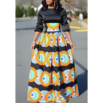 Orange Tribal Floral Print Pleated High Waisted Vintage African Party Skirt