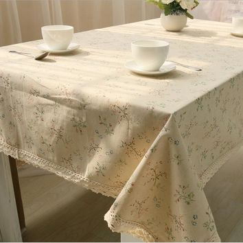 Linen Cotton Tablecloths For Rectangular Tables White Lace Floral Printed Table Cover Table Cloth Linen Crochet Lace Tafelkleden