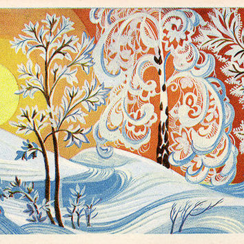 January - Time of Year (Artist L. Prisekina) Vintage Postcard - Printed in the USSR, «Fine Art», Moscow, 1973